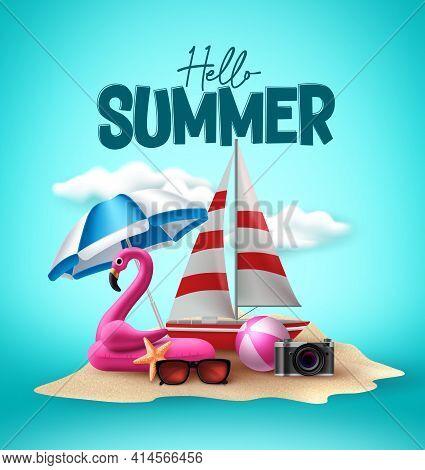 Hello Summer Vector Design. Summer Beach Elements And Hello Summer Text In Sand Island Background Fo