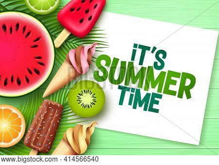 Summer Time Vector Template Design. It's Summer Time Text In White Frame Space With Tropical Fruit E