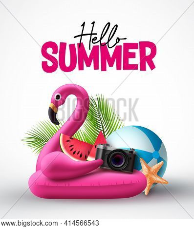 Hello Summer Vector Concept Design. Flamingo Pink Floater And Summer Beach Elements In White Backgro