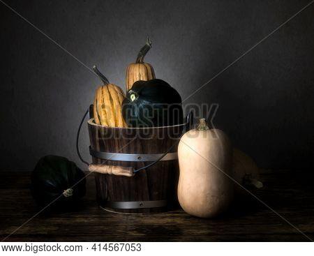 Three Types Of Winter Squash, Delicata Squash, Acorn Squash And Butternut Squash And A Bucket, Viewe