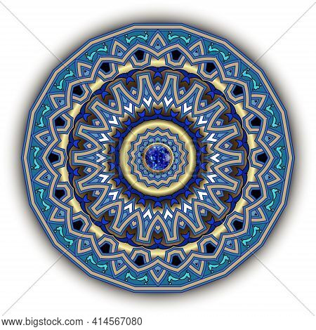 Round Mandala Pattern. Jewelry Floral Background. Colorful Vector Backdrop. Vintage Ornaments With G