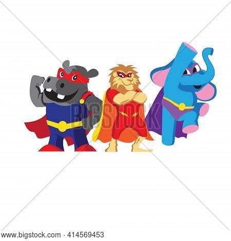Fable Superheroes Vector Flat Illustrations These Pack, Can Be Used For Kid's Tshirt, Vitamins Packa