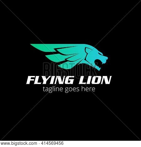 Flying Lion Logo Concept, The Lion Hair As Wing Vector