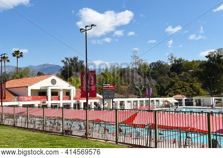 PASADENA, CALIFORNIA - 26 MAR 2021: Overview of the Rose Bowl Aquatics Center in Brookside Park