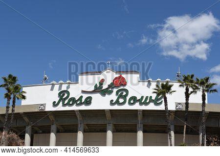 PASADENA, CALIFORNIA - 26 MAR 2021: Closeup of the Rose bowl Logo on the football stadium in Southern California.