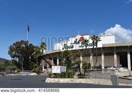 PASADENA, CALIFORNIA - 26 MAR 2021: The Rose Bowl football stadium in Southern California.