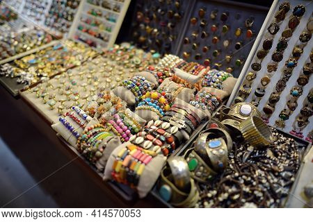 Showcase For Sales Of Jewelry And Bijouterie On Istanbul Grand Bazaar Marketplace. Rings, Earrings,