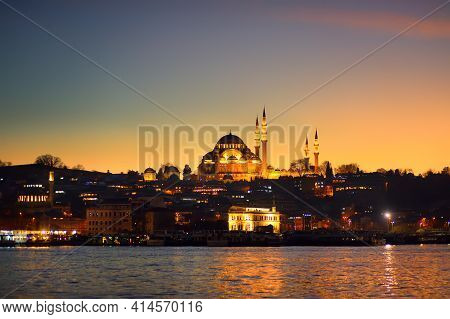 Stunning Sunset View Of The Golden Horn Bay In Istanbul, Turkey. Suleymaniye Mosque And New Mosque I