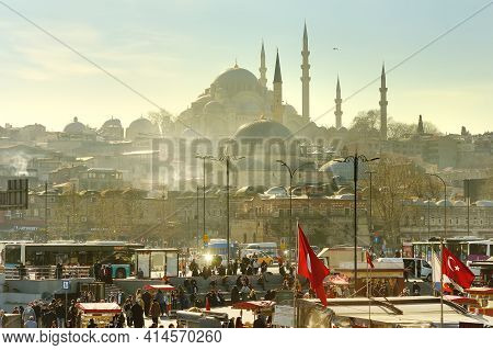Istanbul, Turkey - March 5, 2021: Magnificent View Of Famous Suleymaniye Mosque (ottoman Imperial Mo