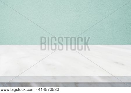 Perspective Marble Table Surface And Green Wall Background, Grey And White Marble Table Top For Kitc
