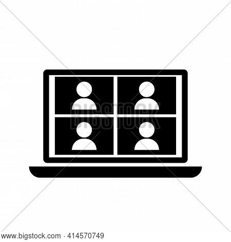 Laptop Conference. Computer Screen. Video Meeting Concept. Call Icon. Business Technology Concept. S