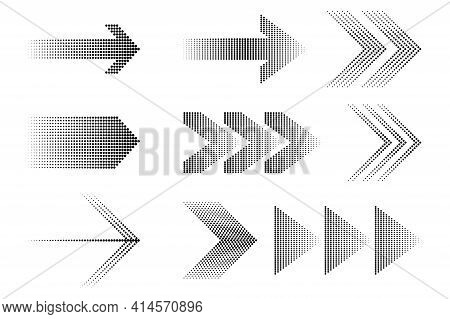 Abstract Black Pattern On Halftone Blue Backdrop. Arrow Icon. Stock Image. Eps 10.