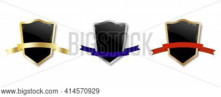 Shields With Ribbons. Shield Icon Vector. Medieval Shield. Stock Vector Image. Eps 10.