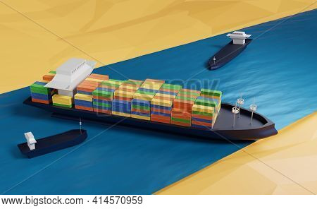 Water Accident With Cargo Ship On The Suez Canal, 3d Illustration Or 3d Rendering