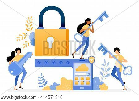 Banner Vector Design Of Mobile Security System With Password And Smart Protection Technology. Illust