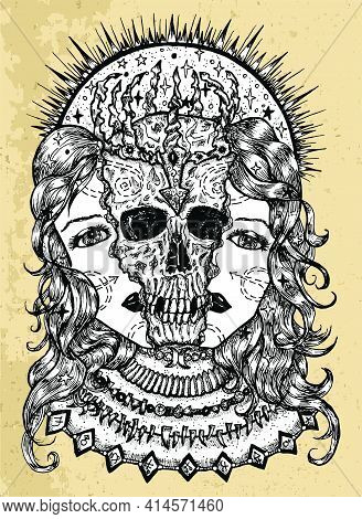 Grunge Illustration With Halves Of Woman Face And Scary Skull Between Them. Mystic Background For Ha