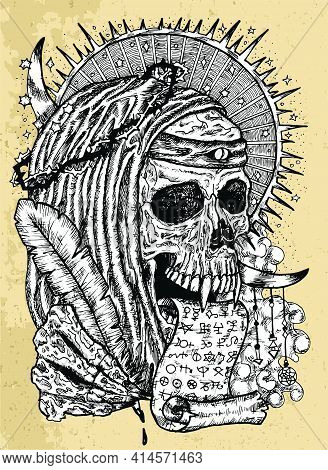 Grunge Illustration With Human Skull Wearing Crown Of Thorns, In Monk Cloak With Manuscript And Quil