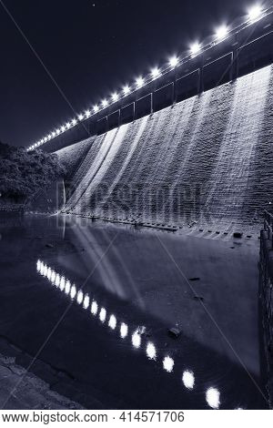 Night Scene Of Dam In Tai Tam Reservoir, Hong Kong