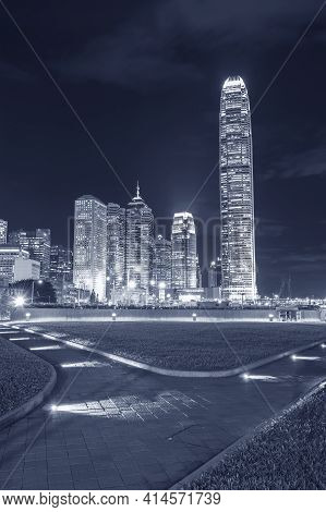 Skyline Of Downtown In Hong Kong City At Night