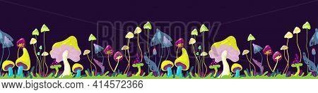 Magic Mushrooms - Mystery Landscape Of Secret Forest, Seamless Border. Hand-drawn Vector Illustratio