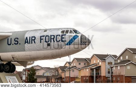 Denver, Colorado - March 21, 2021: Airplane Standing Outside Of The Wings Over The Rocks - Air And S