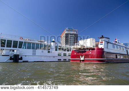 Amsterdam, Netherlands - July 02, 2018: Tourist Ship On The Amstel River In The Amsterdam Center