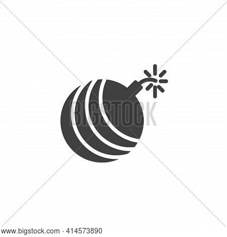 Bomb With Burning Fuse Vector Icon. Filled Flat Sign For Mobile Concept And Web Design. Explosive Bo