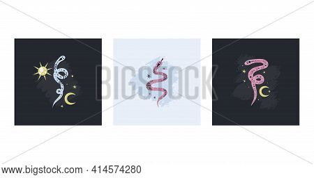 Snake Poster Set. Doodle Hand Drawn Pink And Blue Snakes On Dark Background With Moon Sun And Stars,