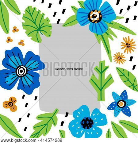 Doodle Floral Frame. Hand Drawn Cartoon Leaves And Flowers Composition, Abstract Botanical Square Bo