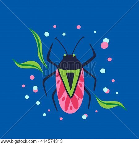 Cartoon Beetle. Doodle Bright Colorful Hand Drawn Bug, Cute Beautiful Insect Pink And Blue Colors Mo