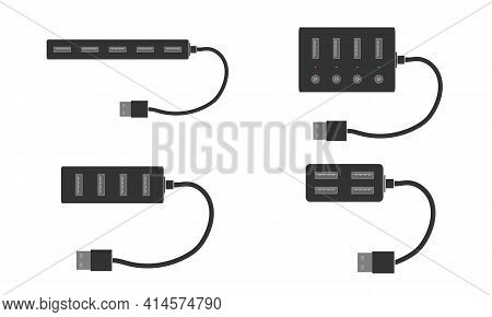 A Complete Set Of Modern Usb Splitters With Ports And Cable. Usb Hub For Your Computer Or Laptop. Fl