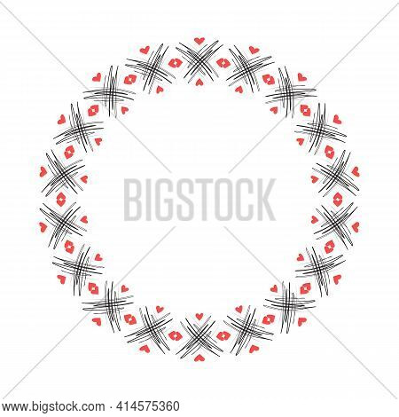 Doodle Hand Drawn Circle Frame Isolated On White Background. Vector Illustration. Curly Ornate Swoos