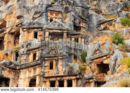 Rock-cut Tombs Of Lycian Necropolis Of The Ancient City Of Myra In Demre, Antalya Province In Turkey