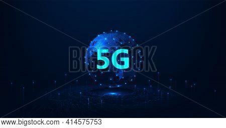 Technology Future Communication.5g Symbol On World Wireless Internet Network Connection Illustration