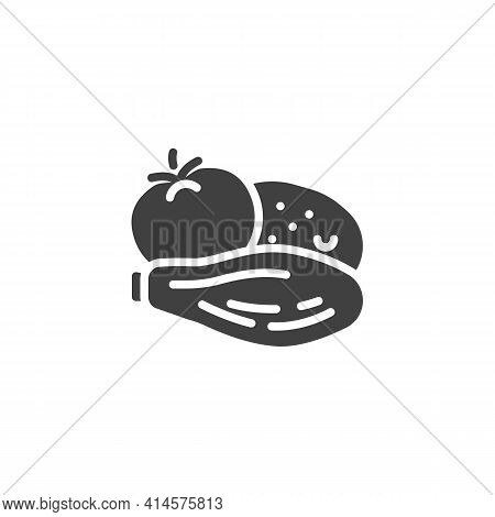 Bbq Vegetable Vector Icon. Filled Flat Sign For Mobile Concept And Web Design. Grill Vegetable, Toma