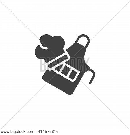 Chef Uniform, Apron And Hat Vector Icon. Filled Flat Sign For Mobile Concept And Web Design. Cook Ha