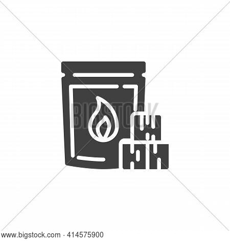 Charcoal Bag Vector Icon. Filled Flat Sign For Mobile Concept And Web Design. Bbq Charcoal Briquette