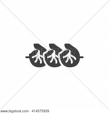 Grilled Shrimps Vector Icon. Filled Flat Sign For Mobile Concept And Web Design. Bbq Shrimp Glyph Ic