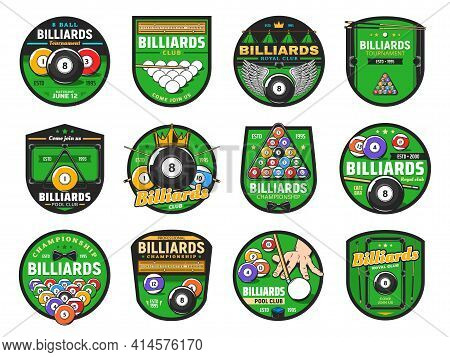 Billiards And Pool Cue Sport Vector Icons With Isolated Balls, Cues And Snooker Tables, Racks And La