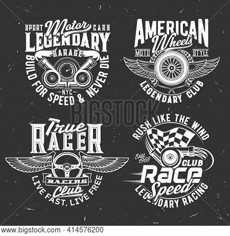Car Rally Race Tshirt Prints With Vector Checkered Flag, Vehicle Steering Wheel And Cannons With Typ