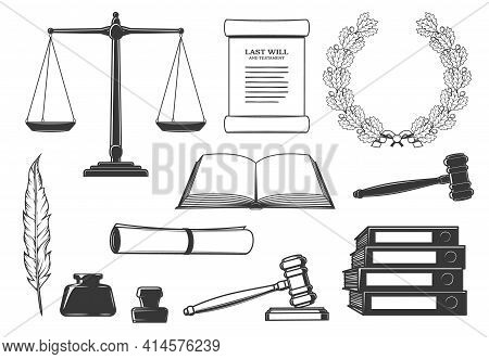 Law, Court And Criminal Justice System Symbols. Last Will Testament Document, Oak Wreath And Scales