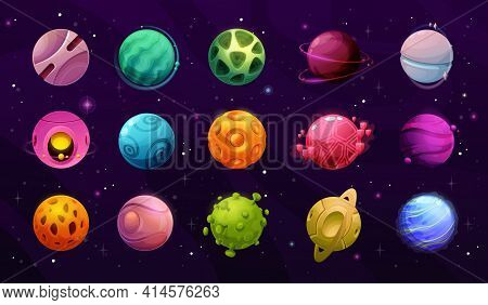Space Planets, Cartoon Galaxy Universe Fantasy, Vector Icons On Sky Background. Space Game Planets A