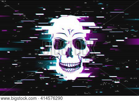 Human Skull On Glitched Screen Background. Computer Virus, Hacker Or Malware Software, Phishing Atta
