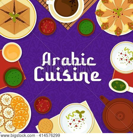 Arabic Cuisine Vector Meat Pie Sfeeha, Hummus With Pita Bread And Flatbread With Chickpea Falafels,