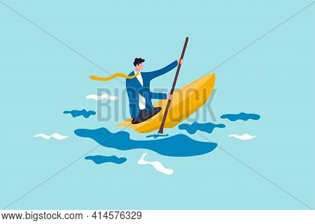 Leadership To Overcome Business Difficulty, Skill Or Decision Making To Survive In Crisis Concept, A