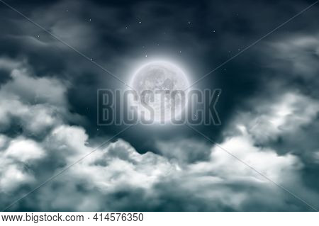Moon In Night Sky With Clouds And Stars. Vector Realistic Full Moon On Dark Midnight Heaven. Starry