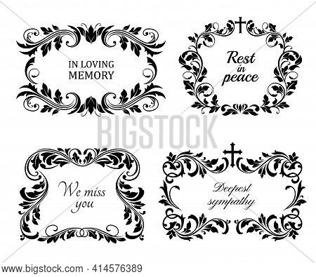 Funeral Wreaths Cards, Vector Vintage Condolence Frames With Floral Ornament, Flourishes And Obituar