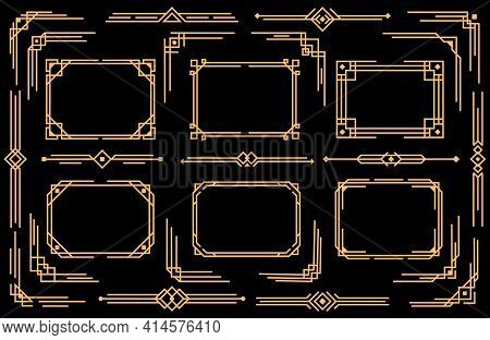 Art Deco Vector Elements Line Borders, Frames, Dividers And Corners. Decorative Geometric Victorian