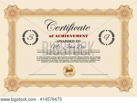 Certificate Of Achievement Or Appreciation Vector Template With Guilloche Frame Border And Premium G