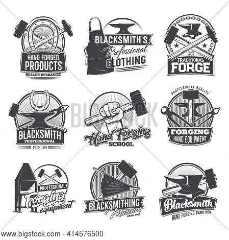 Blacksmith Profession Vector Icons, Hand Forged Products, Clothing, Traditional Forge. Hand Forging